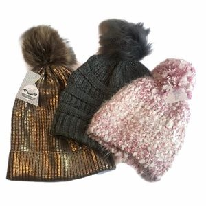 POM POM Puff Ball Beanie Fur Warm Bundle of 3 Hats